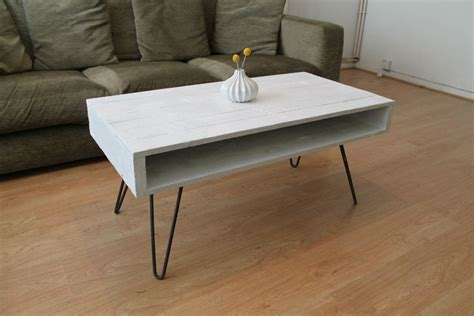 Solid wood round coffee table & marketplace (471) only. Coffee Table with Hairpin Legs in Solid White