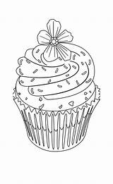 Coloring Cupcake Pages Flower Cupcakes Cute Adult Topping Drawing Food Hard Print Drawings Printable Cake Colouring Sheets Blank Birthday Zentangle sketch template