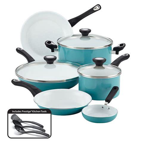 farberware purecook nonstick ceramic  pc cookware set  aqua  turquoise
