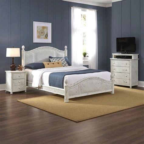 piece wicker king bedroom set  white