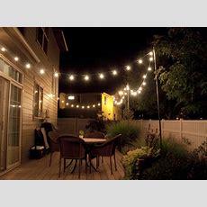 Backyard String Lights And Flowers  Home Design Inside