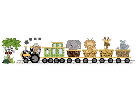 jungle zoo animal train wall art mural  wallpaper border