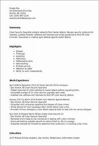 1 cyber security specialist resume templates try them With cyber security resume template