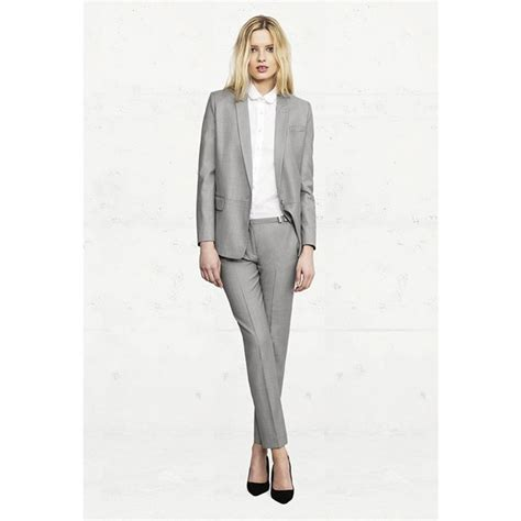 Light Gray Womens Business Suits Office Uniform Style Formal Pant Suits For Weddings Tuxedo