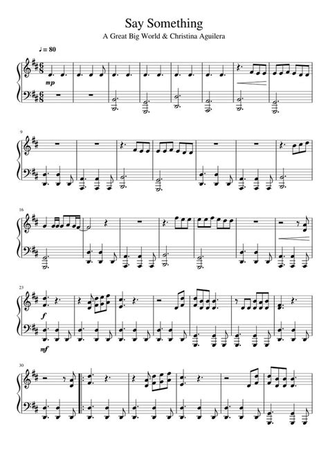 say something by great big world aguilera piano solo musescore i m sure i ll