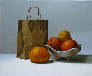 Still Life Painting | 12 orange bag still life painting
