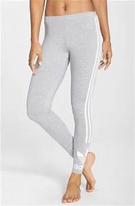 Adidas originals Trefoil 3-stripes Leggings in Gray   Lyst