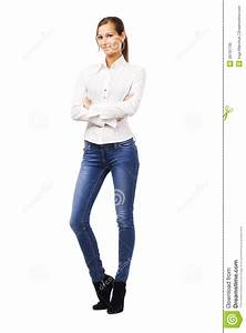 Lovely Woman In White Shirt And Blue Jeans Royalty Free Stock Photo - Image 26791735