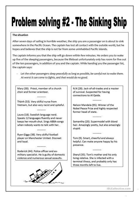 problem solving   sinking ship worksheet  esl