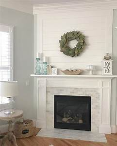 Shiplap, And, Marble, Fireplace