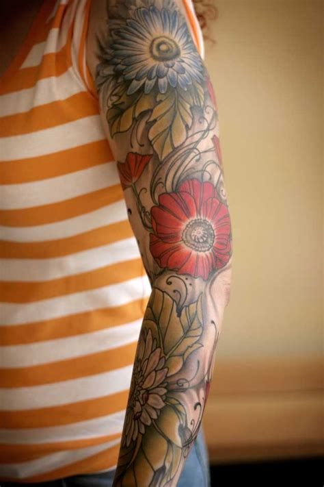30 Fabulous Floral Sleeve Tattoos for Women - TattooBlend