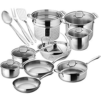 amazoncom chefs star premium pots  pans set  piece stainless steel induction cookware