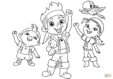 jake and the neverland coloring page jake izzy cubby and skully are cheering together