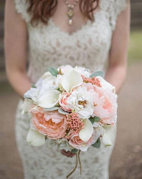 peony wedding bouquet coral  cream bridal bouquet