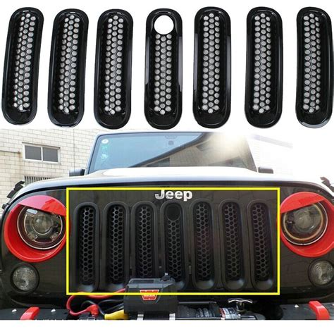 pcs front car grill cover mesh grille inserts kit key