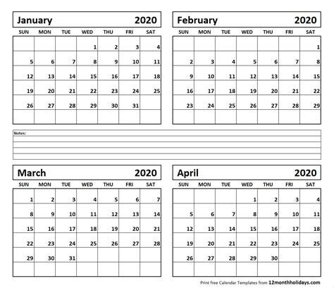 calendar  january february march april printable