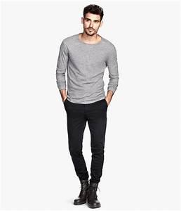 Black slim-fit chinos with side pockets and back welt pockets. | Hu0026M Men | Stuff Guys Should ...