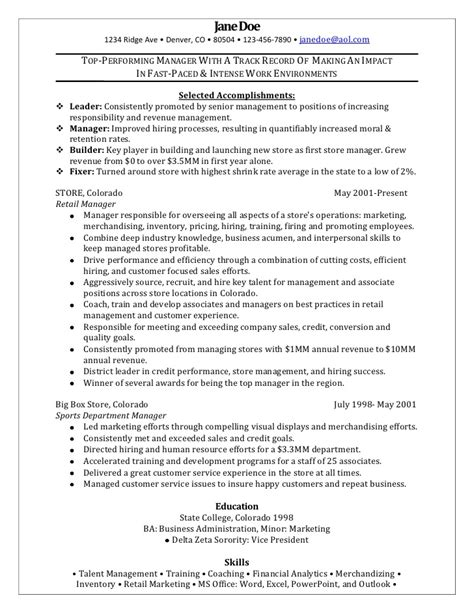 retail marketing manager resume retail manager sle resume