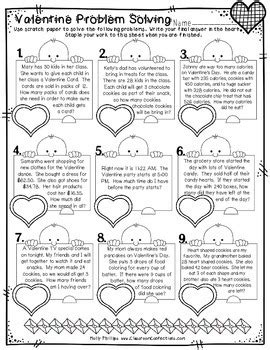 valentine s day math worksheets 4th grade by elementary lesson plans
