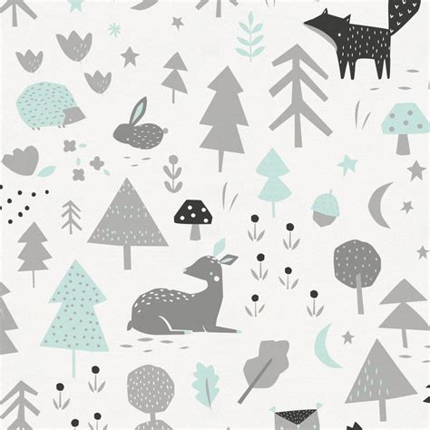 icy mint and silver gray baby woodland fabric by the yard gray fabric carousel designs