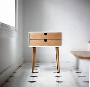 white nightstand bedside table scandinavian mid century With table de nuit scandinave