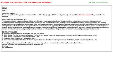 executive assistant job offer letter