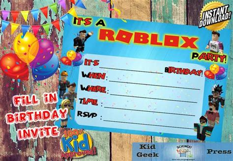 Birthday Invitations Roblox Printable