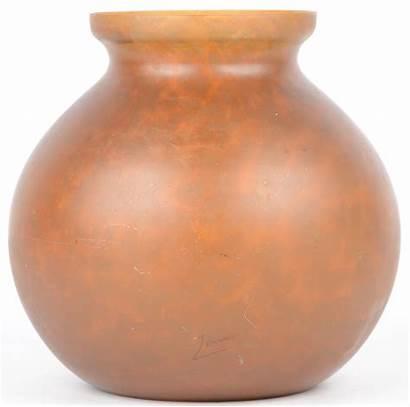 Bolle Vaas Amberkleurig Omstreeks Glas 1900 Gemerkt
