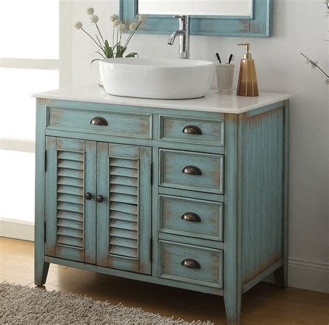 36 Inch Bathroom Vanity Coastal Beach Style White Vessel