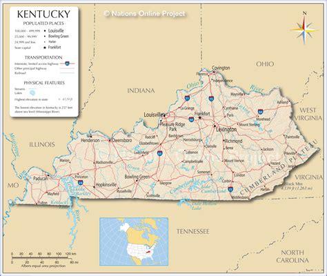 map  kentucky  cities
