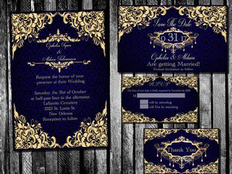 elegant royal blue  gold wedding invitation save