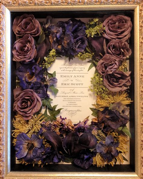 wedding bouquet preserved flower shadow box  leigh