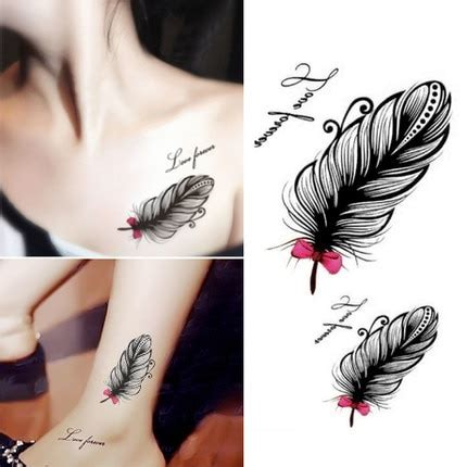 personality feather tattoo paste female clavicle ankle