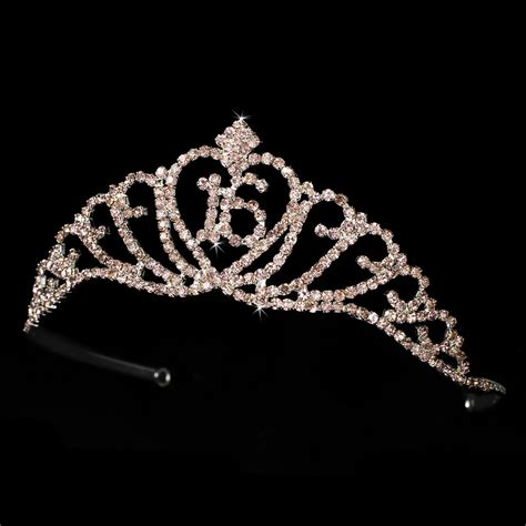 silver rhinestone sweet sixteen 16 sparkling sweet 16 birthday tiara covered in pink