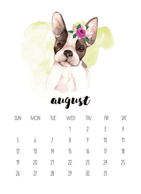 printable  watercolor animal calendar