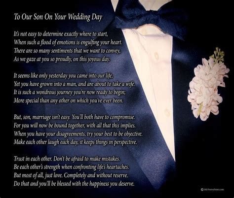 son   wedding day poem print  beautiful groom wedding gift  parents