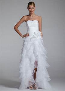 David39s bridal sample strapless taffeta high low ruffle for High low halter wedding dress