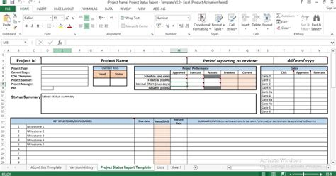 project status report excel template engineering management