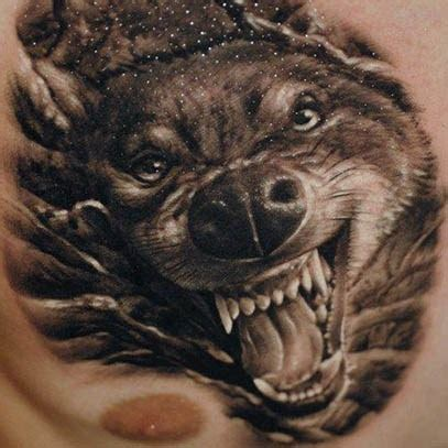 angry wolf tattoo  chest