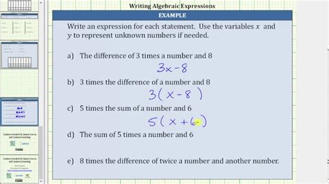 Write Algebraic Expressions From Statements Form Ax+b And A(x+b) Youtube