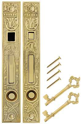 broken leaf bit key double pocket door mortise lock house  antique hardware