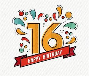Colorful happy birthday number 16 flat line design — Stock ...