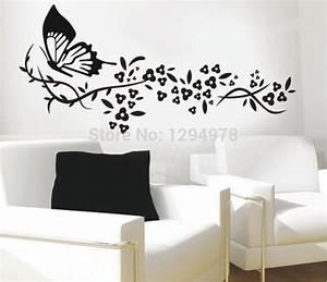 118*72cm Black Butterfly&Flower Living Room Vinyl Wall Art ...