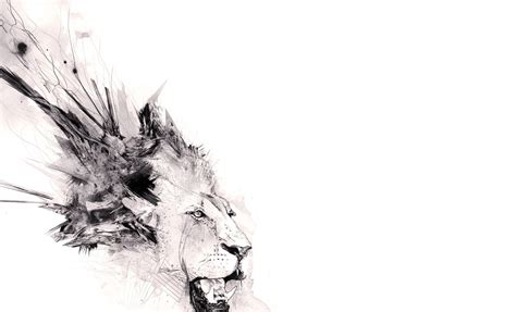 abstract minimalistic animals artwork lions white