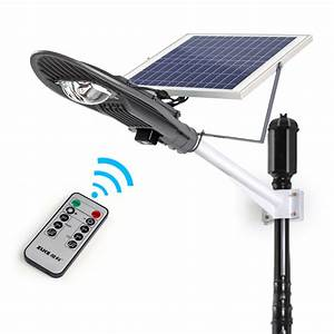 W remote control solar powered panel led street light