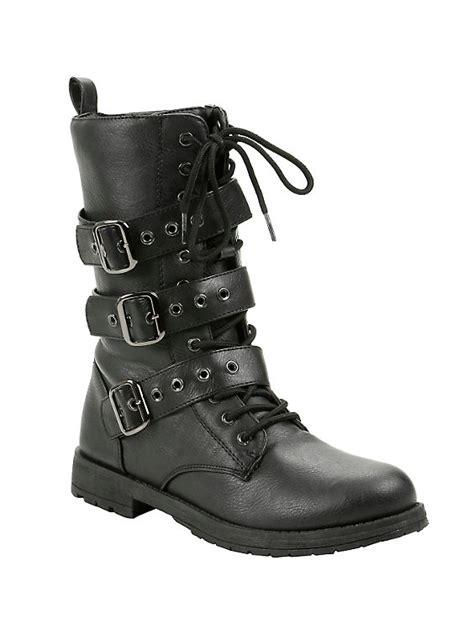black triple buckle combat boots