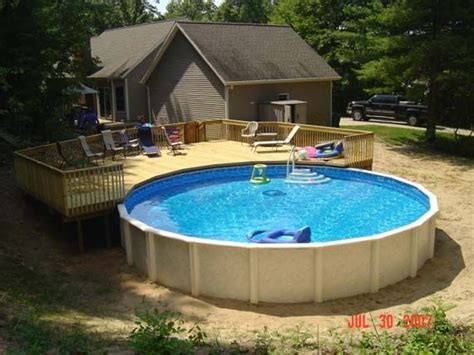Backyard Swimming Pools Above Ground by Pool In Low Deck Patio Photos Designs Pictures Above