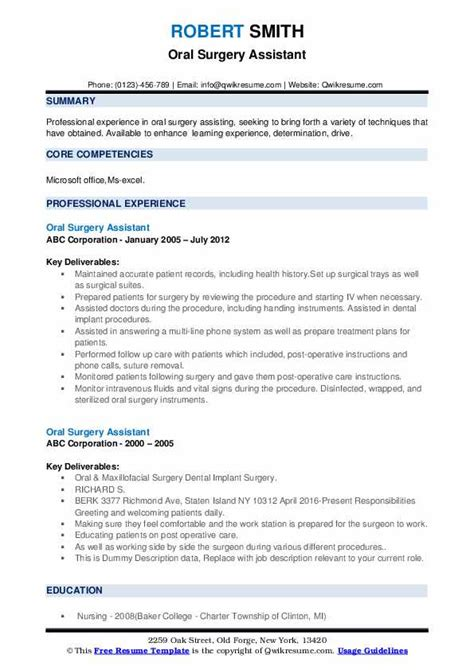 oral surgery assistant resume samples qwikresume