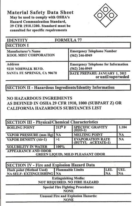Material Safety Data Sheet Template Free by Printable Msds Sheets Search Engine At Search