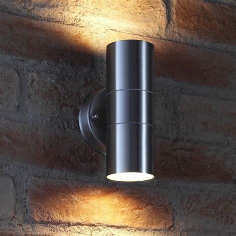auraglow up down outdoor wall light winchester stainless steel auraglow led lighting